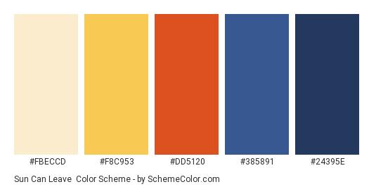 Sun Can Leave - Color scheme palette thumbnail - #FBECCD #F8C953 #DD5120 #385891 #24395E