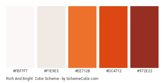 Rich and Bright - Color scheme palette thumbnail - #FBF7F7 #F1E9E3 #EE712B #DC4712 #972E22