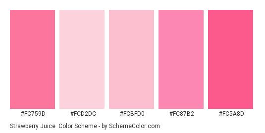 Strawberry Juice - Color scheme palette thumbnail - #FC759D #FCD2DC #FCBFD0 #FC87B2 #FC5A8D
