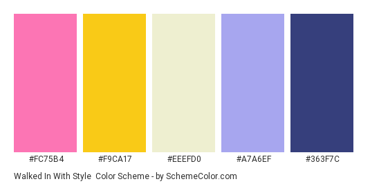 Walked In With Style - Color scheme palette thumbnail - #FC75B4 #F9CA17 #EEEFD0 #A7A6EF #363F7C