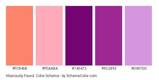 Hilariously Found - Color scheme palette thumbnail - #FC846B #FDAABA #740472 #9C2893 #D497DD