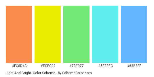 Light and Bright - Color scheme palette thumbnail - #FC8D4C #ECEC00 #73E977 #5EEEEC #63B8FF