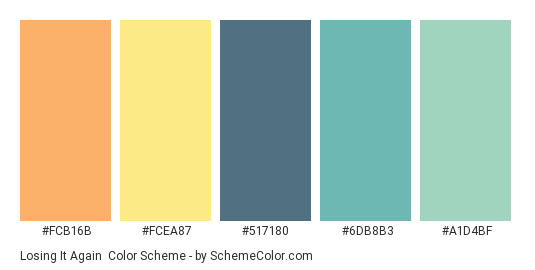 Losing it Again - Color scheme palette thumbnail - #FCB16B #FCEA87 #517180 #6DB8B3 #A1D4BF