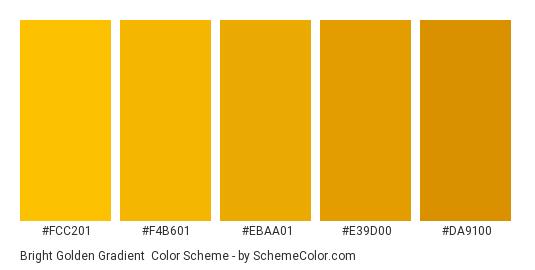Bright Golden Gradient - Color scheme palette thumbnail - #FCC201 #F4B601 #EBAA01 #E39D00 #DA9100