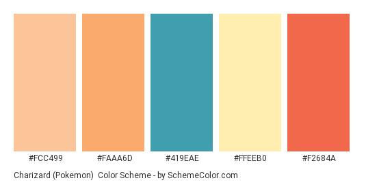 Charizard (Pokemon) - Color scheme palette thumbnail - #FCC499 #FAAA6D #419EAE #FFEEB0 #F2684A