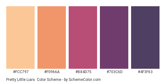 Pretty Little Liars - Color scheme palette thumbnail - #FCC797 #F0966A #B84D75 #703C6D #4F3F63