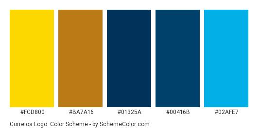 Correios Logo - Color scheme palette thumbnail - #FCD800 #BA7A16 #01325A #00416B #02AFE7