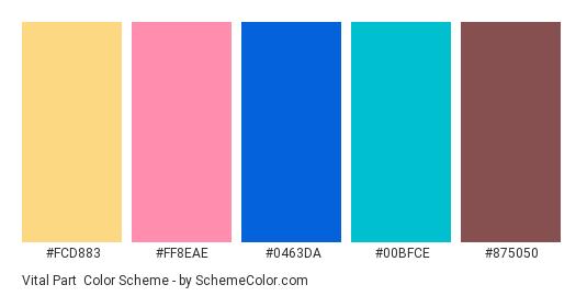 Vital Part - Color scheme palette thumbnail - #FCD883 #FF8EAE #0463DA #00BFCE #875050