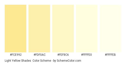 Light Yellow Shades - Color scheme palette thumbnail - #FCE992 #FDF0AC #FEF8C6 #FFFFE0 #FFFFEB