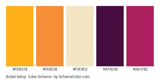 Bridal Setup - Color scheme palette thumbnail - #FDB018 #F68E38 #F3E4C2 #470D40 #AB1F5E