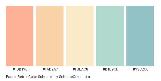 Pastel Retro - Color scheme palette thumbnail - #FDB196 #FAD2A7 #FBEAC8 #B1D9CD #93C2C6