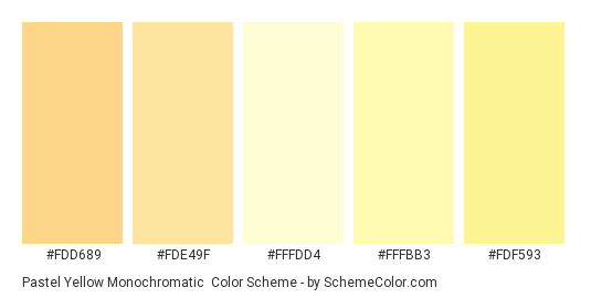 Pastel Yellow Monochromatic - Color scheme palette thumbnail - #FDD689 #FDE49F #FFFDD4 #FFFBB3 #FDF593