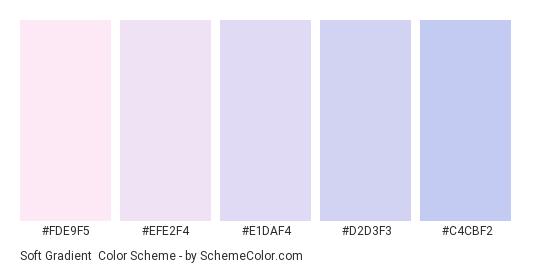 Soft Gradient - Color scheme palette thumbnail - #FDE9F5 #EFE2F4 #E1DAF4 #D2D3F3 #C4CBF2
