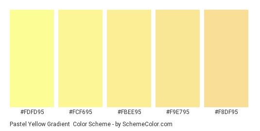 Pastel Yellow Gradient - Color scheme palette thumbnail - #FDFD95 #FCF695 #FBEE95 #F9E795 #F8DF95