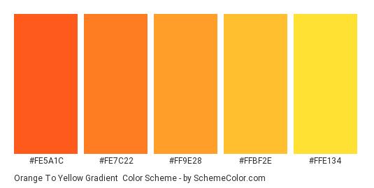 Orange to Yellow Gradient - Color scheme palette thumbnail - #FE5A1C #FE7C22 #FF9E28 #FFBF2E #FFE134