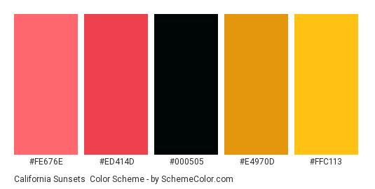 California Sunsets - Color scheme palette thumbnail - #FE676E #ED414D #000505 #E4970D #FFC113