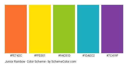 Junior Rainbow - Color scheme palette thumbnail - #FE742C #FFE001 #94C81D #1DAEC2 #7C419F