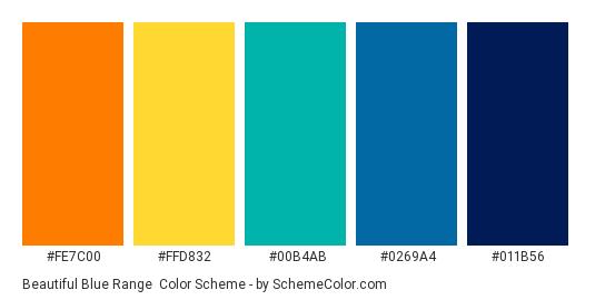 Beautiful Blue Range - Color scheme palette thumbnail - #FE7C00 #FFD832 #00B4AB #0269A4 #011B56