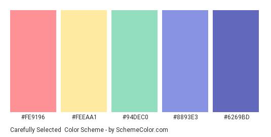 Carefully Selected - Color scheme palette thumbnail - #FE9196 #FEEAA1 #94DEC0 #8893E3 #6269BD