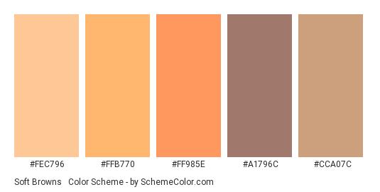 Soft Browns & Orange - Color scheme palette thumbnail - #FEC796 #FFB770 #FF985E #A1796C #CCA07C