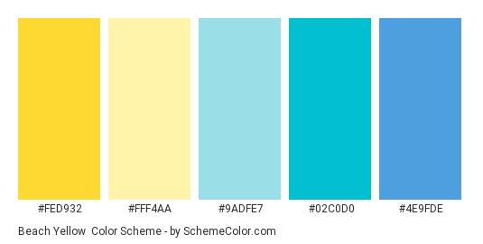 Beach Yellow - Color scheme palette thumbnail - #FED932 #FFF4AA #9ADFE7 #02C0D0 #4E9FDE