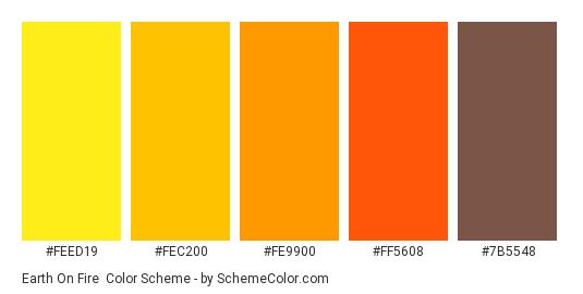 Earth on Fire - Color scheme palette thumbnail - #FEED19 #FEC200 #FE9900 #FF5608 #7B5548