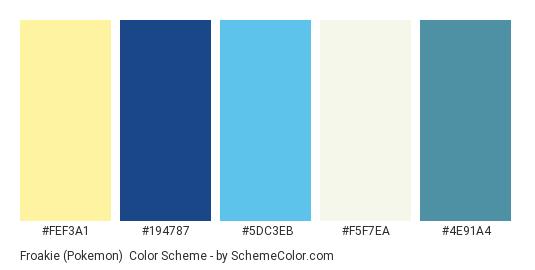Froakie (Pokemon) - Color scheme palette thumbnail - #FEF3A1 #194787 #5DC3EB #F5F7EA #4E91A4