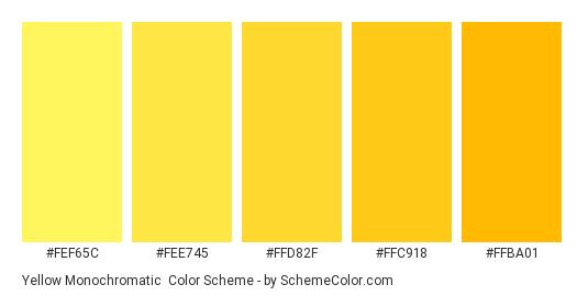 Yellow Monochromatic - Color scheme palette thumbnail - #FEF65C #FEE745 #FFD82F #FFC918 #FFBA01