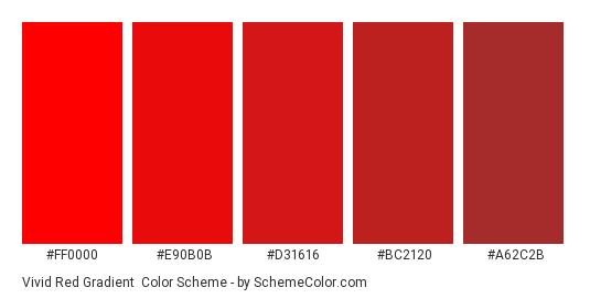 Vivid Red Gradient - Color scheme palette thumbnail - #FF0000 #E90B0B #D31616 #BC2120 #A62C2B
