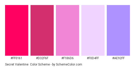 Secret Valentine - Color scheme palette thumbnail - #FF0161 #D32F6F #F186D6 #F0D4FF #AE92FF