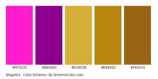 Magenta & Gold - Color scheme palette thumbnail - #FF1DCD #8B008C #D3AF38 #B8860C #996514