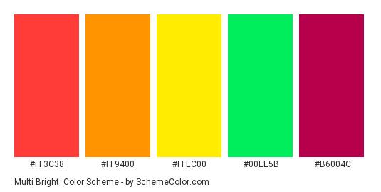 Multi Bright - Color scheme palette thumbnail - #FF3C38 #FF9400 #FFEC00 #00EE5B #B6004C