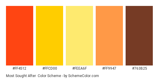 Most Sought After - Color scheme palette thumbnail - #FF4512 #FFCD00 #FEEA6F #FF9947 #763B25