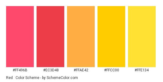 Red & Yellow of Spring - Color scheme palette thumbnail - #FF496B #EC3D48 #FFAE42 #FFCC00 #FFE134
