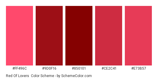 Red of Lovers - Color scheme palette thumbnail - #FF496C #9D0F16 #850101 #CE2C41 #E73B57