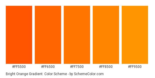 Bright Orange Gradient - Color scheme palette thumbnail - #FF5500 #FF6500 #FF7500 #FF8500 #FF9500