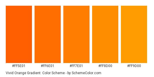 Vivid Orange Gradient - Color scheme palette thumbnail - #FF5E01 #FF6E01 #FF7E01 #FF8D00 #FF9D00