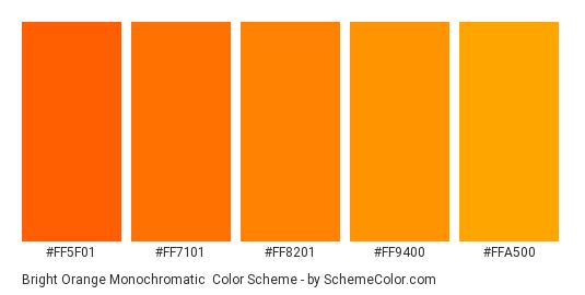 Bright Orange Monochromatic - Color scheme palette thumbnail - #FF5F01 #FF7101 #FF8201 #FF9400 #FFA500