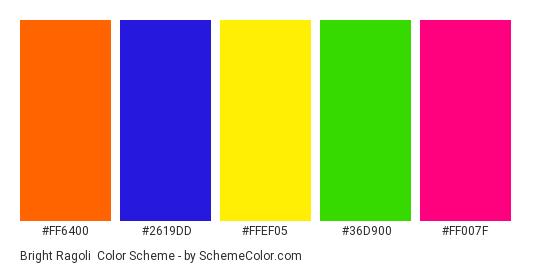Bright Ragoli - Color scheme palette thumbnail - #FF6400 #2619DD #FFEF05 #36D900 #FF007F
