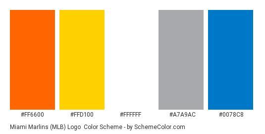 Miami Marlins (MLB) Logo - Color scheme palette thumbnail - #FF6600 #FFD100 #FFFFFF #A7A9AC #0078C8