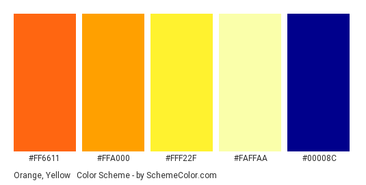 Orange, Yellow & Dark Blue - Color scheme palette thumbnail - #FF6611 #FFA000 #FFF22F #FAFFAA #00008C
