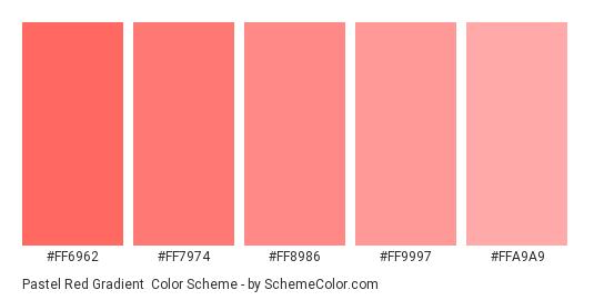 Pastel Red Gradient - Color scheme palette thumbnail - #FF6962 #FF7974 #FF8986 #FF9997 #FFA9A9