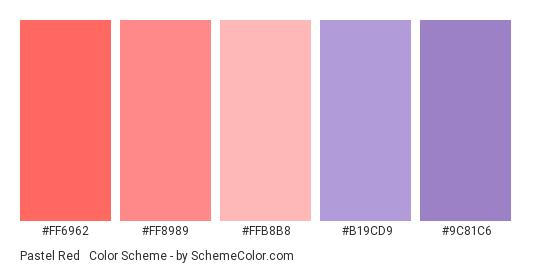 Pastel Red & Purple - Color scheme palette thumbnail - #FF6962 #FF8989 #FFB8B8 #B19CD9 #9C81C6