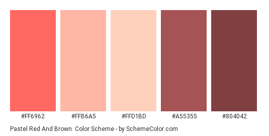 Pastel Red and Brown - Color scheme palette thumbnail - #FF6962 #FFB6A5 #FFD1BD #A55355 #804042