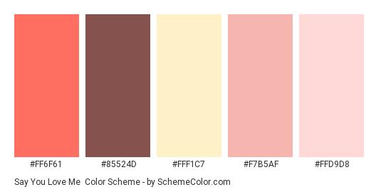 Say You Love Me - Color scheme palette thumbnail - #FF6F61 #85524D #FFF1C7 #F7B5AF #FFD9D8