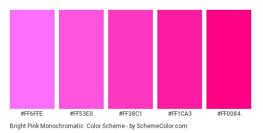 Bright Pink Monochromatic - Color scheme palette thumbnail - #FF6FFE #FF53E0 #FF38C1 #FF1CA3 #FF0084