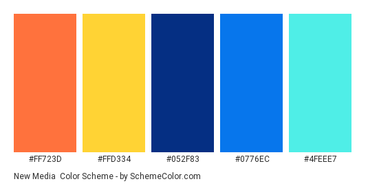 New Media - Color scheme palette thumbnail - #FF723D #FFD334 #052F83 #0776EC #4FEEE7