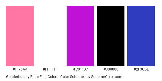 Genderfluidity Pride Flag Colors - Color scheme palette thumbnail - #FF76A4 #FFFFFF #C011D7 #000000 #2F3CBE