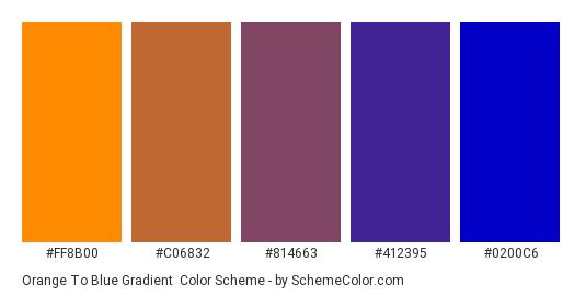 Orange to Blue Gradient - Color scheme palette thumbnail - #FF8B00 #C06832 #814663 #412395 #0200C6