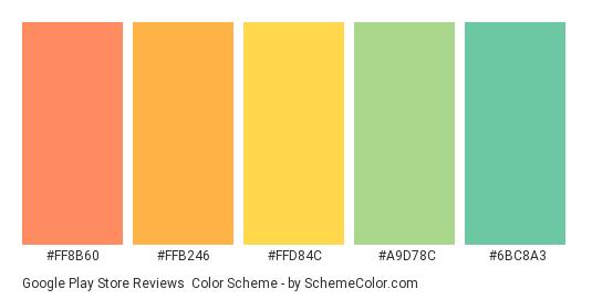 Google Play Store Reviews Color Scheme » Green » SchemeColor com